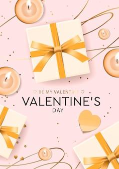 Valentijnsdag wenskaart met geschenkdozen en kaarsen.