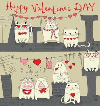 Valentijnsdag wenskaart met hand getrokken love letters. perfect voor valentijnsdag, stickers, bewaar de datumuitnodiging
