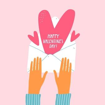 Valentijnsdag wenskaart met handen en envelop.