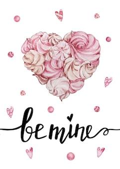 Valentijnsdag wenskaart met handgeschreven wensbrieven en decoratieve aquarel illustraties. wees de mijne en hart-marshmallow