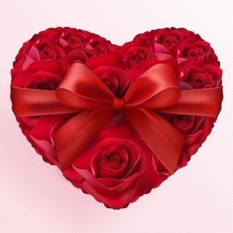 Valentijnsdag wenskaart met hart liefde en roos papier gesneden kunst en ambachtelijke stijl op papier voor happy valentine's day