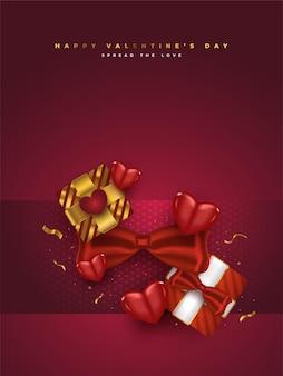 Valentijnsdag wenskaart met realistische geschenkdozen, rode harten en glitter gouden confetti