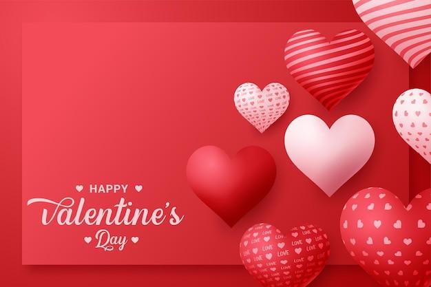 Valentijnsdag wenskaart met rode hart vorm ballon