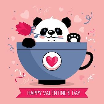 Valentijnsdag wenskaart met schattige panda in een mok