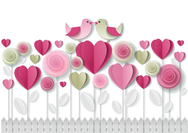 Valentijnsdag wenskaart papier kunst
