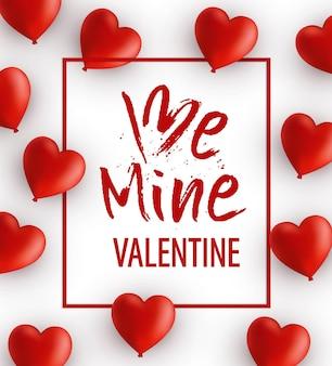 Valentijnsdag wenskaarten met handgeschreven letters be mine valentine