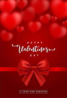 Valentijnsdag wenskaartsjablonen met realistisch van mooi rood hart met lint