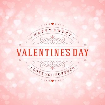 Valentijnsdag wenskaartsjabloon met glanzende harten lichten vector achtergrond