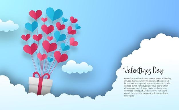 Valentijnsdag wenskaartsjabloon voor spandoek met vliegende liefde hart