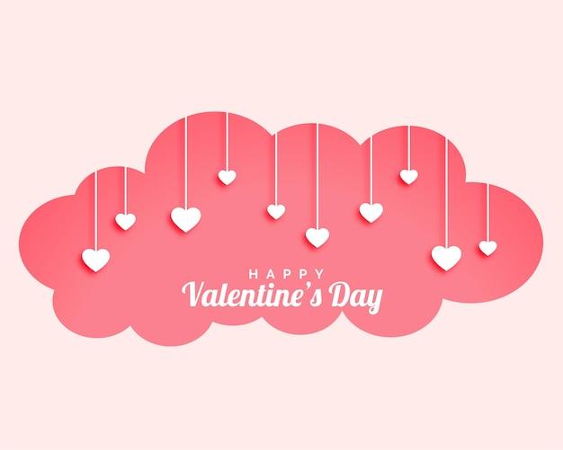 Valentijnsdag wolk met hangende harten ontwerp