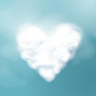 Valentijnsdag. wolkvorm van een hart.
