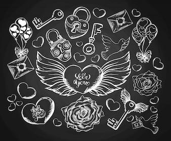 Valentijnsdaggravure Set met envelop, horen, vleugels, duif en roos.