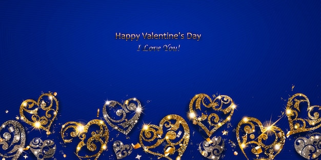 Valentijnsdagkaart met glanzende harten van zilver en gouden glitters met blikken en schaduwen op blauwe achtergrond