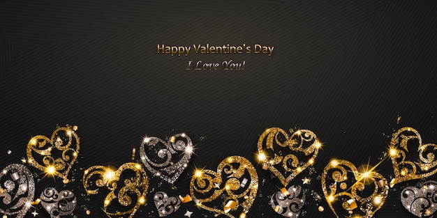 Valentijnsdagkaart met glanzende harten van zilver en gouden glitters met blikken en schaduwen op een donkere achtergrond