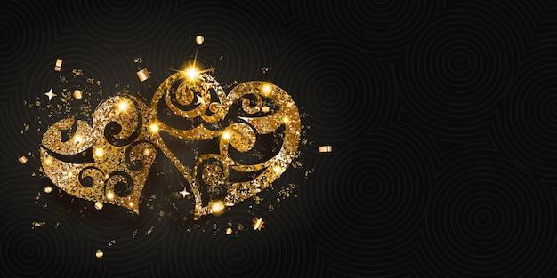 Valentijnsdagkaart met twee glanzende harten van gouden glitters met blikken en schaduwen op een donkere achtergrond