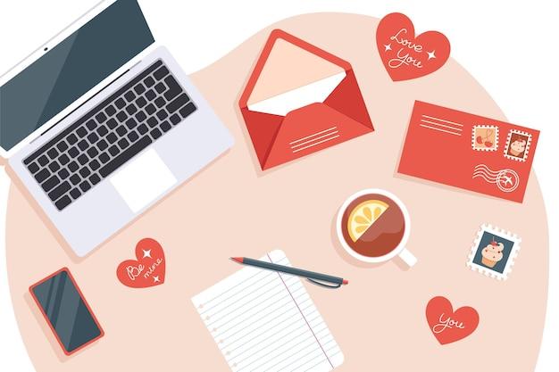 Valentijnsdagkaarten verzenden en ontvangen, bovenaanzicht van de werkplek
