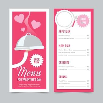 Valentijnsdagmenu en kelner met dienblad