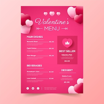 Valentijnsdagmenu in plat ontwerp