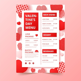 Valentijnsdagmenu met verschillende hartontwerpen