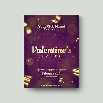 Valentijnsdagposter met gouden foliostukken.
