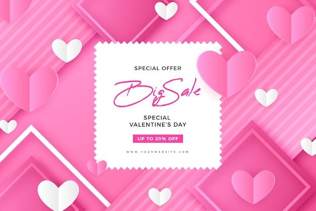 Valentijnsdagverkoop met korting in papieren stijl