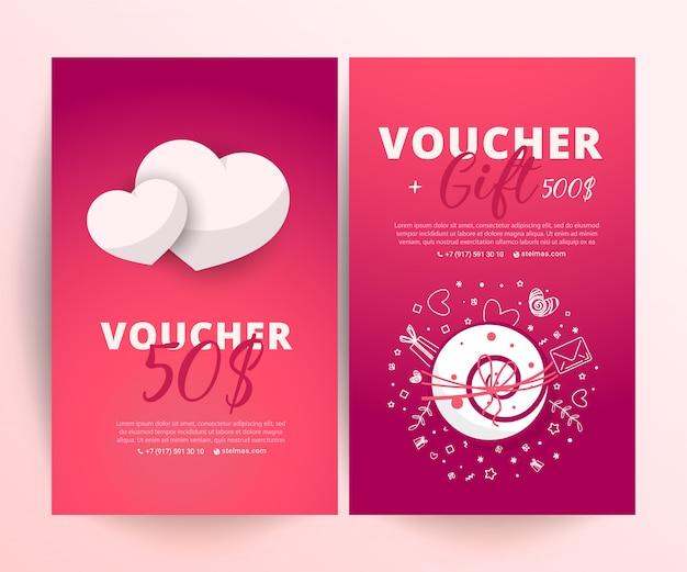 Valentijnsdagvoucher. cadeaubon sjabloon met heldere telefoon