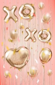 Valentijnskaartenkaart met folieballons op de koraalachtergrond