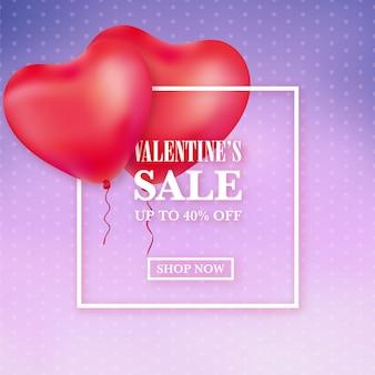 Valentijnsverkoopadvertentie met hartballonnen