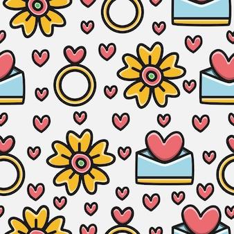 Valentin's cartoon doodle patroon ontwerpsjabloon