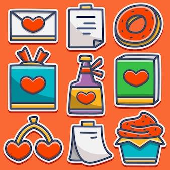 Valentin's cartoon doodle sticker ontwerp