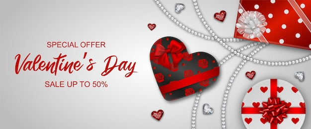 Valentin's day banner met geschenkdozen en diamanten