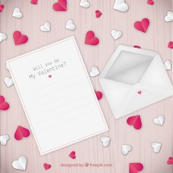 Valentine-achtergrond met brief en envelop