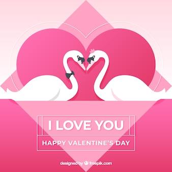 Valentine-achtergrond met zwanen