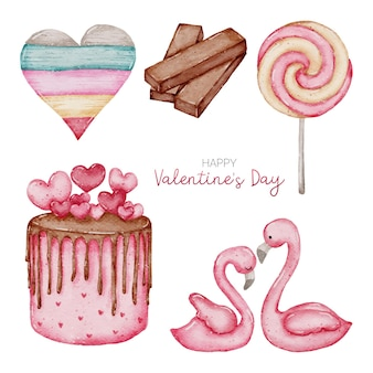Valentine aquarel element collectie