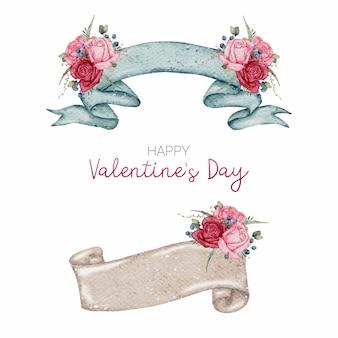 Valentine aquarel element collectie