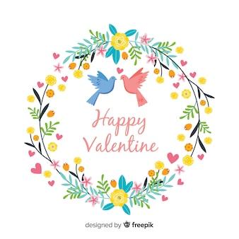 Valentine bloemenkroonachtergrond