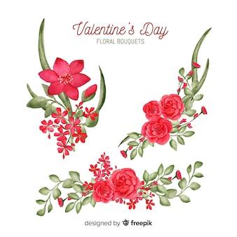 Valentine bloemenornamentinzameling
