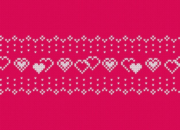 Valentine brei naadloos patroon met harten. roze gebreide textuur.
