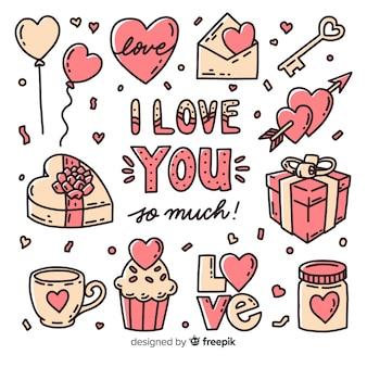 Valentine cadeau-objecten en snoepjes