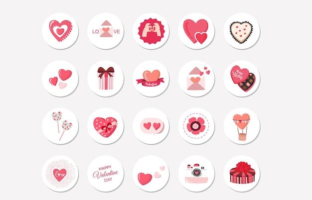 Valentine clipart collectie met aardbei, hart. instagram hoogtepunten collectie