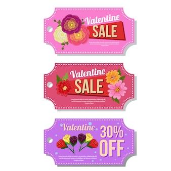 Valentine-coupon verkoop sjabloon buttercup bloem