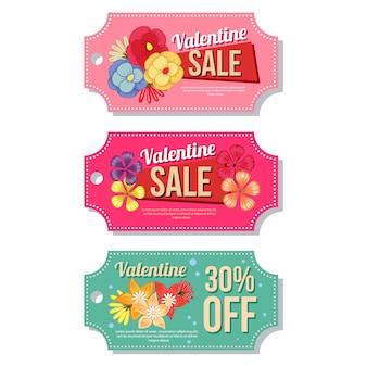Valentine coupon verkoop sjabloon floral thema