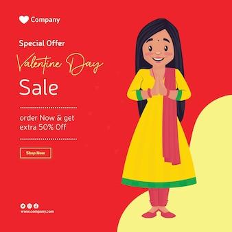 Valentine dag verkoop bannerontwerp met meisje met groeten handen.