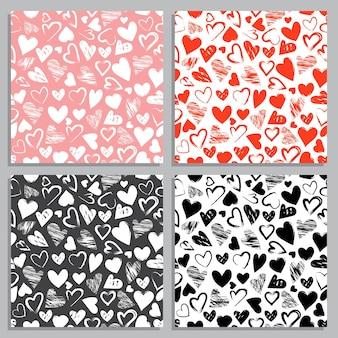 Valentine-dagreeks naadloze patronen en decoratieve elementen. feestelijke ornamenten op witte achtergrond met hart voor een prinsessenfeest, bruiloft. platte vectorillustratie