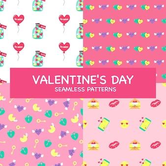 Valentine-dagreeks naadloze patronen en decoratieve elementen. platte vectorillustratie van feestelijke ornamenten op roze achtergrond met hart, snoep, ballon, lippen, telefoon voor een prinsessenfeestje, bruiloft