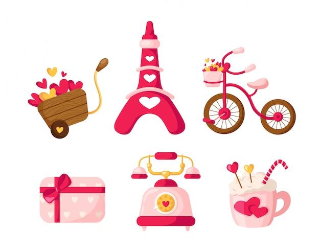 Valentine day cartoon retro telefoon, geschenkdoos met strik, drank mok, roze fiets