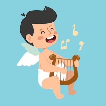 Valentine day cupid engel cartoon jongen stijl vector