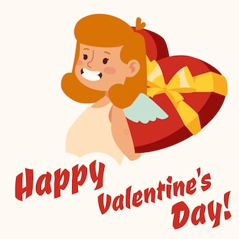 Valentine day cupido engel cartoon meisje stijl vector