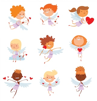Valentine day cupido engelen cartoon stijl vectorillustratie