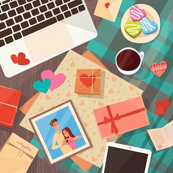 Valentine day gift card holiday ingericht werkruimte desk kopie ruimte bovenhoek bekijken